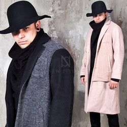 Knit layered single long coat