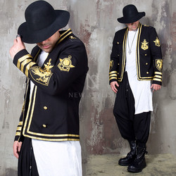 Gold marine patch slim blazer