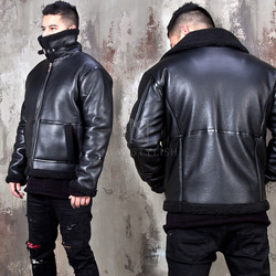 Detachable bottom double faced leather jacket