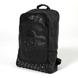 Stud accent skull leather backpack