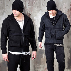 Wool terry blend pocket zip-up hoodie