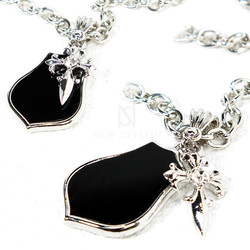 Onyx shield and celtic cross charm chain necklace