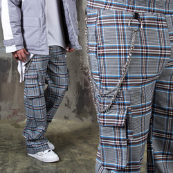 Chain attached wide fit checkered pants