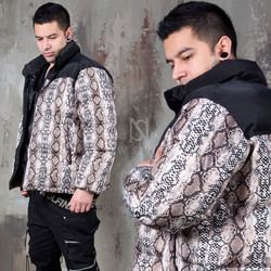 Python patterned padded short parka
