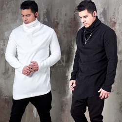 Asymmetric fleece turtleneck shirt