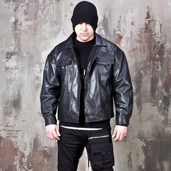 Zip-up trucker leather jacket