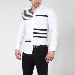Multiple stripe printed button up shirts