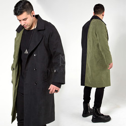 Half contrast double breasted long coat
