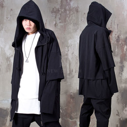 Double layered long zip-up hoodie
