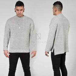 Side opening basic knit sweater