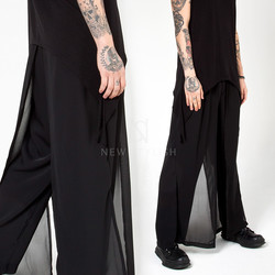Chiffon layered loose pants