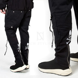 Back skull zipper baggy sweatpants