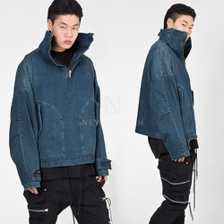 High-neck denim anorak jacket