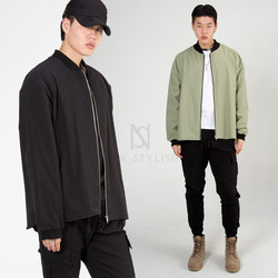 Banded hem cotton zip-up jacket