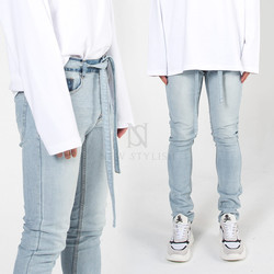 Self-belted contrast light blue slim jeans
