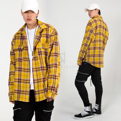 Loose fit checkered round hem shirts