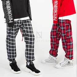 Plaids banded loose pants