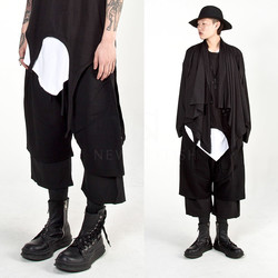 Double layered wide baggy crop pants