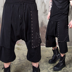Studded cover layered baggy crop pants