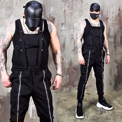 Double long zipper banded belt overall