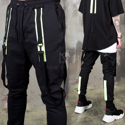 Neon contrast buckle strap banded pants