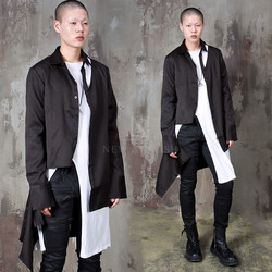 Avant-garde black slim long shirts