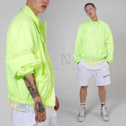 Neon color windbreaker zip-up jacket
