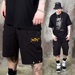 Double X embroidery banded shorts