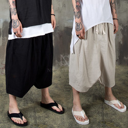 Wide baggy linen crop pants