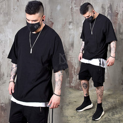 Bottom hem strap black t-shirts