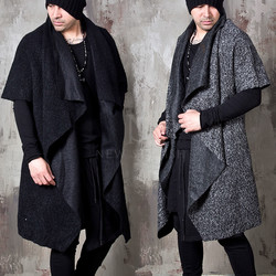 Avant-garde draping boucle open long coat