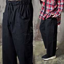 Wide cotton banded pants