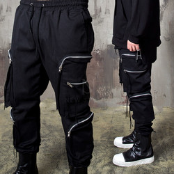 Multiple zipper line pocket banded pants