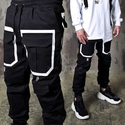 Contrast pocket line banded pants