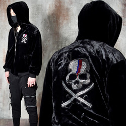 Premium fur beads skull hooded zip-up jacket