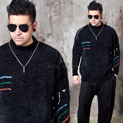 Contrast stitch line accent knit sweater