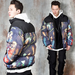 Colorful art painting padded parka