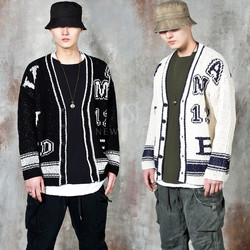 Lettering contrast knit cardigan
