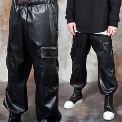 Faux leather loose fit cargo pants