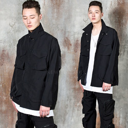 Square pocket button-up field jacket