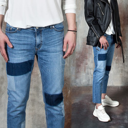 Contrast blue denim jeans