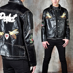 Studded leather shirt jacket