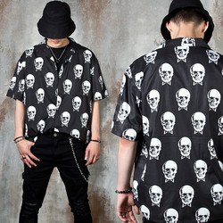 Skull printed short sleeve black shirts