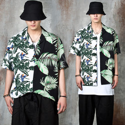 Contrast palm leaves printed summer shirts