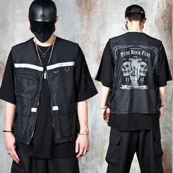 See-thru mesh back techwear zip-up vest