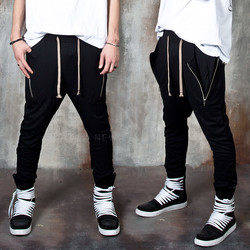 Zipper accent banded baggy pants