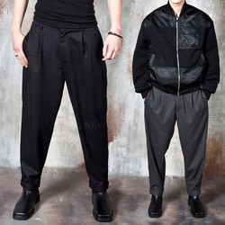 Half banded pleated baggy pants